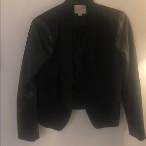 Faux leather Sleeved Black Loft Blazer